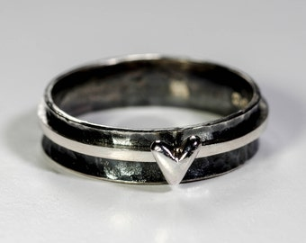Silver/ Gold Heart Ring. Sterling Silver Textured Band with Hand Carved Heart.