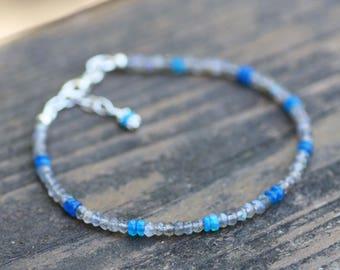 Natural Labradorite  and Blue Opal Bracelet Sterling Silver , Adjustable Length , October Birthstone , 14th Anniversary , Healing Gems