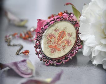 Royal Blush Fleur de Lis Romantic Pendant Necklace with Crystal Beaded Chain, OOAK Handmade Jewelry with a Gothic Touch