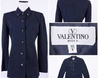 "VALENTINO ""MISS V"" Black Women's Jacket / Blazer / Coat with ""V"" Buttons"