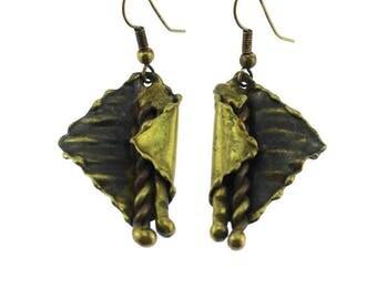 Large Brass Dangle Earrings, Brass Folded Earrings, Large Brass Earrings, Gold Dangle Earrings, Large Gold Earrings