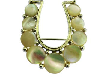 Mother of Pearl Horseshoe Brooch, Gold Horseshoe Brooch, Lucky Horseshoe Pin