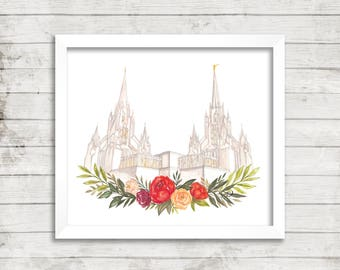 San Diego, Calfornia LDS Temple Watercolor Print, LDS Temple Art