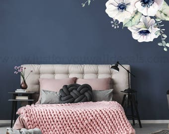 Flower Wall Decal, Floral Wall Decal, Watercolor Wall Decals, Flower Wall Stickers, Watercolor Flower Wall Decal, Nursery Wall Decal 04-0005