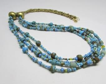 Turquoise Multistrand Necklace -  Boho Jewelry - Bib Necklaces - Long Necklaces - Bohemian Necklace - Beaded Necklace