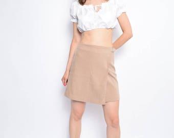 Vintage 90's Wrap Up Skirt / Beige High Waisted Skirt - Size Large