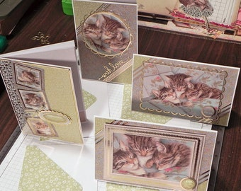 Sleepy Kittens Notes - set of 4 greeting cards