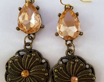Pale peach and antique gold dangle earrings