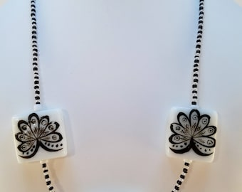 Black and White Dragon Necklace