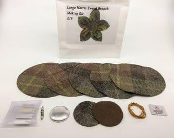 Large Brown & Green Harris tweed brooch making kit
