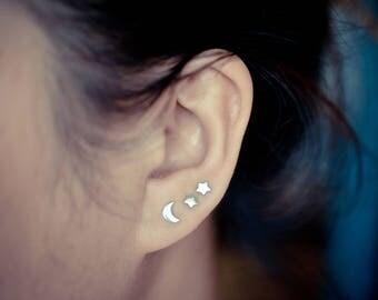 Moon Sterling Silver Earring Studs