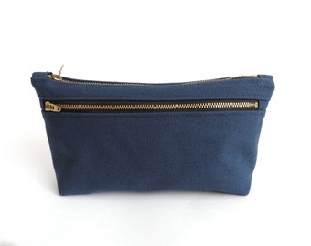 Canvas Cosmetic Bag Double Zipper Pouch Blue