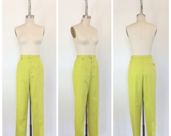 60s Chartreuse Cotton Cigarette Pants / 1960s Vintage High Waisted Skinny Pants / Large / 33 inch waist