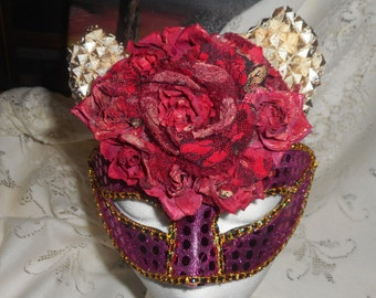 She Devil Mask, Masquerade Mask, Festival Wear, Costume Play, Gold Horns