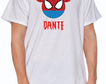 Custom Printed Spiderman Mickey Ears T-Shirt  -  Disney World, Marvel
