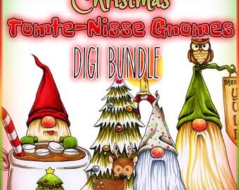 Christmas Tomte Nisse Gnome Digi Bundle UNCOLORED Digital Stamp Image Adult Coloring Page jpeg png jpg Craft Cardmaking Papercrafting DIY
