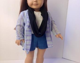 """Doll cardigan. 18"""" doll knit cardigan. Shades of blue. Doll clothing."""