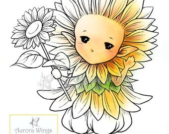 Digital Stamp - Sunflower Sprite - Whimsical Sunflower Fae - digistamp - Fantasy Line Art for Cards & Crafts by Mitzi Sato-Wiuff