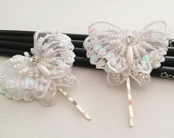 Butterfly hair accessories, bridal headpiece, 3D white butterfly, vintage style wedding lace bobby pin, bridesmaid, flower girl hair pin set