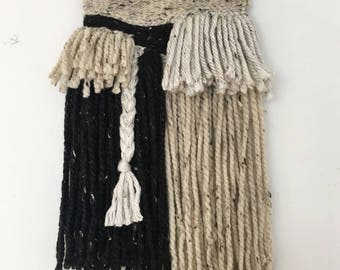 Neutral and Black Flecked Wall Hanging