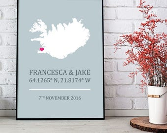 Iceland Personalised Engagement Wedding Print - Icelandic 8x10 inches
