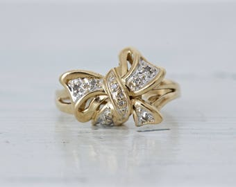 Unique Engagement Ring | Vintage Promise Ring | 10k Yellow Gold Ring | Right Hand Ring | Estate Jewelry | Mixed Metals | Size 6.25+ Sizable