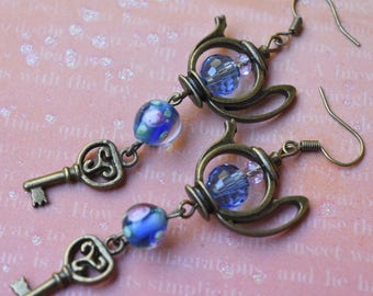 Alice in wonderland earrings. Teapot earrings. Secret key earrings. Alice in wonderland jewelry. Fairy tale earrings