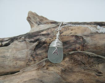 Personalised 'A' Charm Cornish Mermaids Tear Necklace in Seafoam ~ Sterling Silver ~ Cornwall