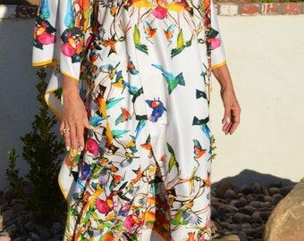 Colorful Birds Silk Caftan, Silk Kaftan Womens Caftans Beach Coverup Resort Wear Silk Dress Resort Wear Plus Size Caftan