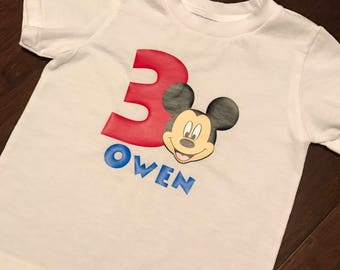 Toddler Boy Mickey Mouse Customized Birthday T-Shirt - Personalized with Name and Age - Short or Long Sleeve
