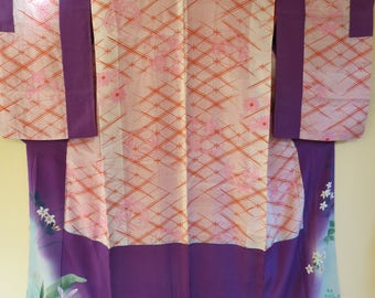 KIMONO RARE DONUKI Antique Silk Kimono Showa Japanese Kimono Lovely Purple Red Art Nouveau Flower Blossoms Antique Silk Kimono Underkimono