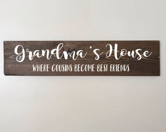Grandma's House Sign FREE SHIPPING, gift, nana, grandmother, cousins, family, present, minimalist, stained, wall hanging, decor, art
