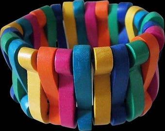 Ultra Vibrant 1980s MEMPHIS ERA Modernist Multicolored Chunky Geometric Carved Wood Beads Non-elastic Bangle BRACELET ~ 38 Grams