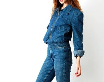 70s denim Crop Jacket / Denim Cropped Jacket / Fitted Jacket / Blue Jeans Jacket / Wing Collar / Club De France  / Size S / M