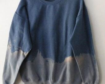 Gray Blue Tie dye Sweatshirt, Acid wash sweatshirt, dip dye crewneck sweatshirt, Grunge, Pink, sweater, jumper, hipster, boho, Rocker, gray