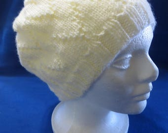 Off White Knitted Slouch Hat