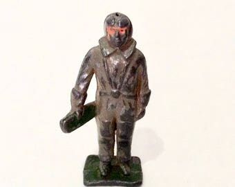 Hollow Cast Metal Figure, Airman, Air Force, Made in England, Parachute, Lead Miniatures
