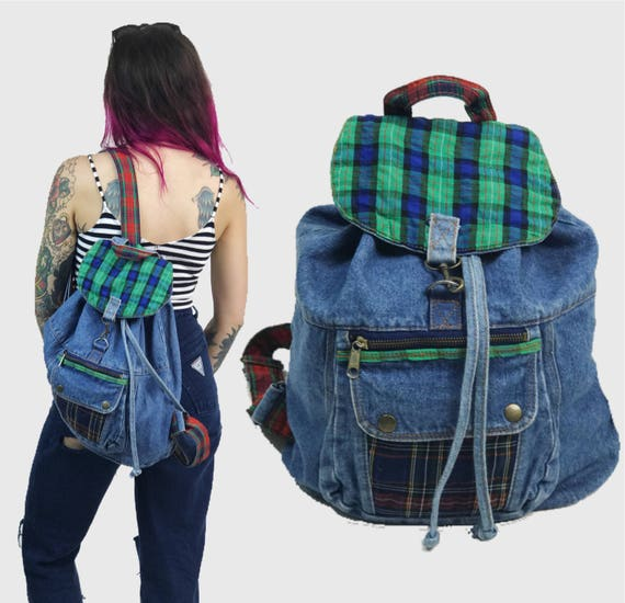 90's Plaid Panel Denim Backpack - Red Green Blue Denim School Backpack Tote - Grunge Backpack Purse Colorful Denim Hipster 1990's Aesthetic