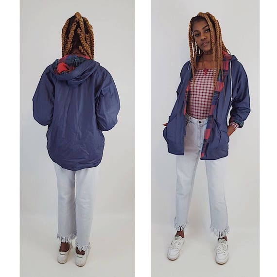 90's Blue Hooded Rain Coat Red Cotton Plaid Lining - Lined Rain Slicker Shiny Button Up Front Hipster Rain Coat Vintage Women Medium Large