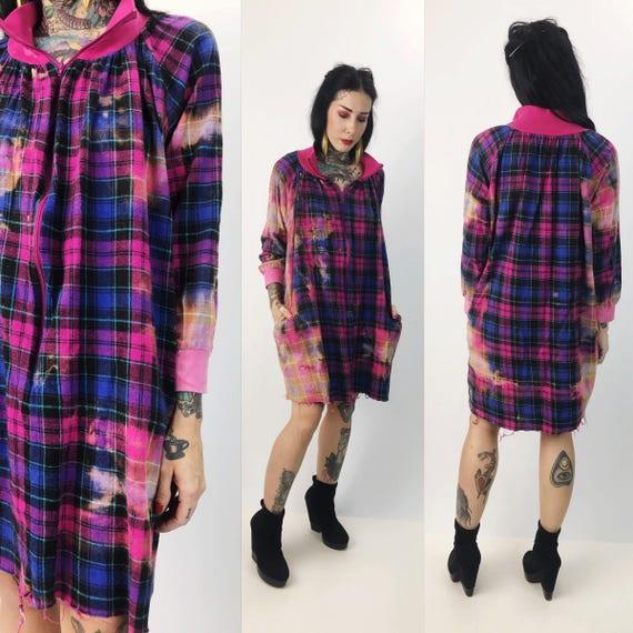 Tie Dye Frayed Flannel Shirt Dress Pink Purple Medium - Bleached Dress w/ Frayed Hem Baggy Grunge Jumper - Cotton Long Sleeve Zip Up Dress