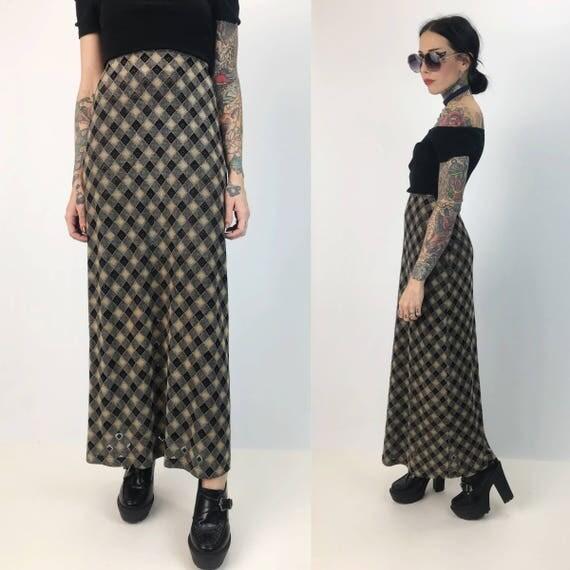 "90's High Waist Printed Maxi Skirt Small - Plaid Semi Sheer High Waist Maxi Skirt - Sexy Fitted Long Vintage 90's Grunge Sexy Skirt 24""-26"""
