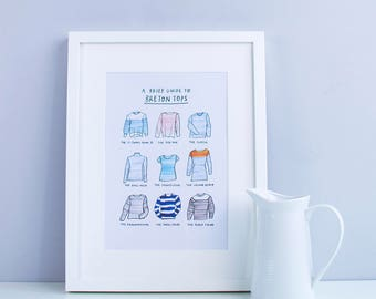 A Brief Guide to Breton Tops – A4 Illustrated art print