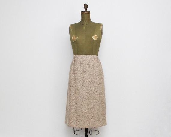 Vintage 1970s Tan Wool Tweed Skirt - 31 Inch Waist