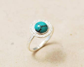 Turquoise Engagement Ring, Turquoise Promise Ring, Unique Engagement Ring, Sterling Silver Turquoise Ring, December Birthstone Ring