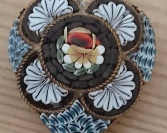 Vintage Micromosaic heart brooch