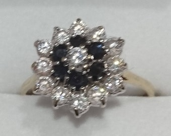 Vintage 9ct gold, cz and sapphire cluster ring