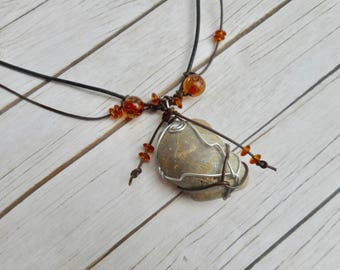 Gray shell fossil pendant brown leather necklace wire leather wrapped jewelry handmade ladies mens jewelery unique boho indian fashion gifts