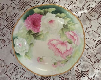 Free Shipping Antique Vintage Hand Painted Porcelain Bowl Made in Bavaria Pink and White Peonies Green Leaves Gold Scalloped Edge