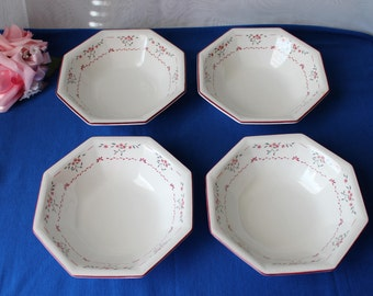 4 Johnson Brothers England Octagonal Cereal Soup Bowls Floral Pattern Set of 4