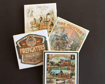 Firefighter Coasters ~ Vintage Firefighter ~ Drink Coasters ~ Ceramic Tile Coasters ~ Bar Coasters ~ Firefighter Gift ~ Home Decor